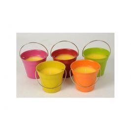 Citronová svíčka v barevném kbelíku