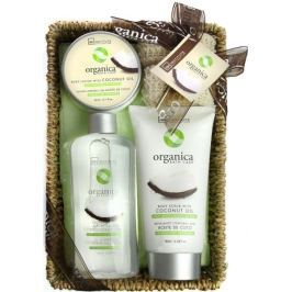 Idc Institute Organica Coconut Oil sprchový gel 188 ml + tělové mléko 180 ml + tělový peeling 60 ml + sisalová houbička 1 kus v košíku, kosmetická sada