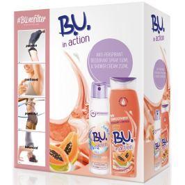 B.U. In Action Protect Plus antiperspirant deodorant sprej pro ženy 150 ml + In Action Yogurt + Papaya sprchový gel 250 ml, kosmetická sada