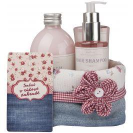 Bohemia Gifts & Cosmetics Rosarium s extrakty z šípků a květů růže Růžové snění sprchový gel 250 ml + šampon 200 ml + pěna do koupele 500 ml + látkový košík, kosmetická sada
