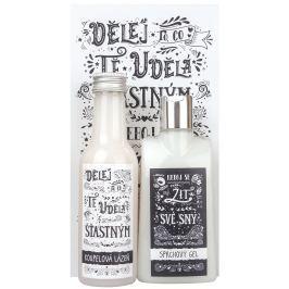 Bohemia Gifts & Cosmetics Kořeněná vůně Sprchový gel 200 ml + Koupelová lázeň 200 ml + Obrázek Dělej to, co tě udělá šťastným 13 x 24 cm, kosmetická sada