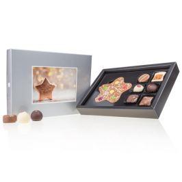 Chocolissimo - Střední vánoční bonboniéra s vlastní fotografií - stříbrná 135 g