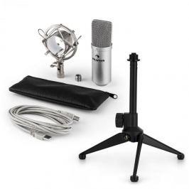 Auna MIC-900S V1, USB mikrofonní sada, stříbrný kondenzátorový mikrofon + stolní stativ