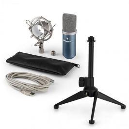 Auna MIC-900BL V1, USB mikrofonní sada, modrý kondenzátorový mikrofon + stolní stativ