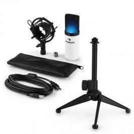 Auna MIC-900WH-LED V1, USB mikrofonní sada, bílý kondenzátorový mikrofon + stolní stativ