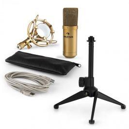 Auna MIC-900BG V1, USB mikrofonní sada, zlatý kondenzátorový mikrofon + stolní stativ