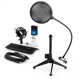 Auna MIC-900WH-LED V2, USB mikrofonní sada, bílý kondenzátorový mikrofon + pop-filter + stolní stativ