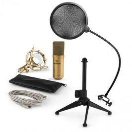 Auna MIC-900G-LED V2, USB mikrofonní sada, zlatý kondenzátorový mikrofon + pop-filter + stolní stativ
