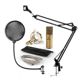 Auna MIC-900G V4, mikrofonní sada, USB kondenzátorový mikrofon, rameno, pop-filter, zlatá barva