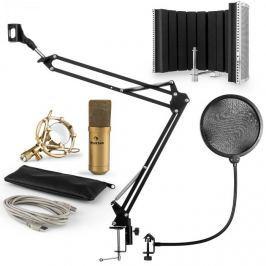 Auna MIC-9005G V5, mikrofonní sada, kondenzátorový mikrofon, pop-filter, resorbční panel, rameno, zlatá barva