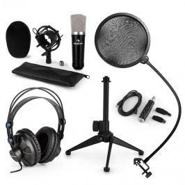Auna CM003 mikrofonní sada V2, kondenzátorový mikrofon, USB konvertor, sluchátka, mikrofonní stojan