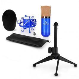 Auna CM00BG mikrofonní sada V1 – černo-zlatý studiový mikrofon s pavoukem a stolním stojanem