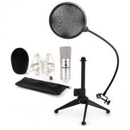 Auna CM001S mikrofonní sada V2 – kondenzátorový mikrofon, mikrofonní stojan, pop filtr, stříbrná barva