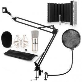 Auna CM001S mikrofonní sada V5 kondenzátorový mikrofon, mikrofonní rameno, pop filtr, panel, stříbrná barva