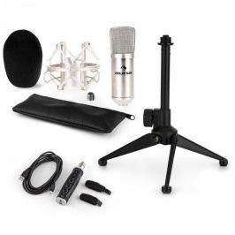 Auna CM001S mikrofonní sada V1, kondenzátorový mikrofon, USB adaptér, mikrofonní stojan, stříbrná barva