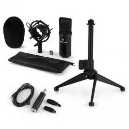 Auna CM001B mikrofonní sada V1, kondenzátorový mikrofon, USB adaptér, mikrofonní stojan, černá barva