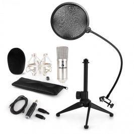 Auna CM001S mikrofonní sada V2, kondenzátorový mikrofon, USB adaptér, mikrofonní stojan, stříbrná barva