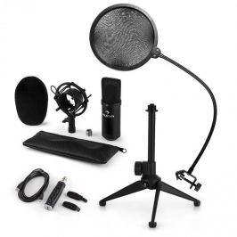 Auna CM001B mikrofonní sada V2, kondenzátorový mikrofon, USB adaptér, mikrofonní stojan, černá barva
