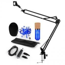Auna CM001BG mikrofonní sada V3, kondenzátorový mikrofon, USB adaptér, mikrofonní rameno, modrá barva