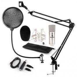 Auna CM001S mikrofonní sada V4, kondenzátorový mikrofon, USB adaptér, mikrofonní rameno, pop filtr, stříbrná barva