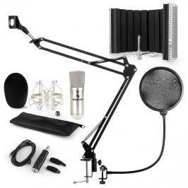 Auna CM001S mikrofonní sada V5, kondenzátorový mikrofon, USB adaptér, mikrofonní rameno, pop filtr, panel, stříbrná barva