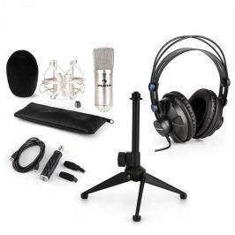 Auna CM001S V1, mikrofonní sada, sluchátka + kondenzátorový mikrofon s USB adaptérem + stativ, stříbrná barva