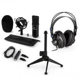 Auna CM001B V1, mikrofonní sada, sluchátka + kondenzátorový mikrofon s USB adaptérem + stativ, černá barva