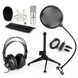 Auna CM001S V2, mikrofonní sada, sluchátka + kondenzátorový mikrofon s pop filtrem a USB adaptérem + stolní stativ, stříbrná barva
