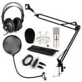 Auna CM001S mikrofonní sada V4 sluchátka, kondenzátorový mikrofon, USB panel, mikrofonní rameno, pop filtr