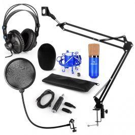 Auna CM001BG mikrofonní sada V4, sluchátka, kondenzátorový mikrofon, USB-adaptér, mikrofonní rameno, pop filter