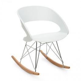 Oneconcept Travolta houpací židle, retro, PP-konstrukce sedáku, březové dřevo, bílá barva