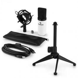 Auna MIC-900WH V1, USB mikrofonní sada, bílý kondenzátorový mikrofon + stolní stativ