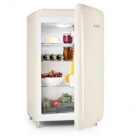 Klarstein PopArt-Bar krémová chladnička, 136L retro design, 3 patra, přihrádka na zeleninu, A +