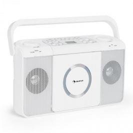 Auna Boomtown USB, boombox, CD přehrávač, FM rádio, MP3, přenosné kufříkové rádio, bílý