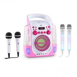 Auna Kara Liquida BT růžová barva + DAZZLE mikrofonní sada, karaoke zařízení, mikrofon, LED osvětlení