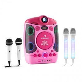 Auna Kara Projectura pink + Dazzle Mic Set karaoke zařízení, mikrofon, LED osvětlení