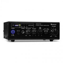 Auna Amp3 USB, mini stereo zesilovač, mikrofonní vstup, sluchátkový výstup, černý