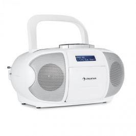Auna Beeberry DAB boombox ghettoblaster kazetový přehrávač, USB, CD, MP3, bílá barva