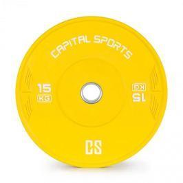 CAPITAL SPORTS Nipton, bumper kotouč, závaží, 1x 15kg, tvrzená pryž, žlutá barva