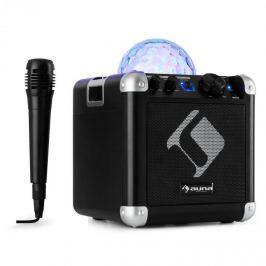 Auna BC-10 karaoke systém LED párty osvětlení, bluetooth, dobíjecí baterie, USB, AUX-IN, černá barva