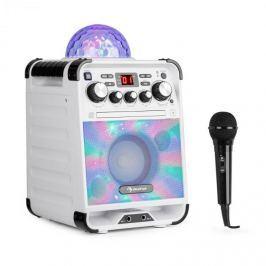 Auna Rockstar LED, karaoke systém, CD přehrávač, bluetooth, USB, AUX, 2 x 6,3 mm, bílý