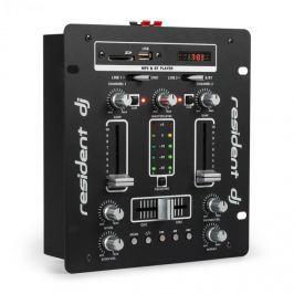 Resident DJ DJ-25 DJ-mixér mixážní pult, zesilovač, bluetooth, USB, černá / bílá