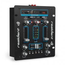 Resident DJ DJ-25 DJ-mixér mixážní pult, zesilovač, bluetooth, USB, černá / modrá