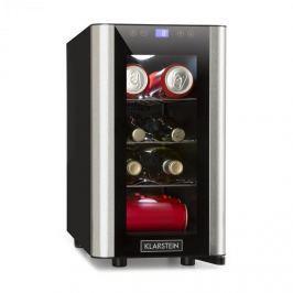Klarstein Chladnička na nápoje Vinovista Picollo, 24 l / 8 lahví, LED, skleněné dveře, ušlechtilá ocel