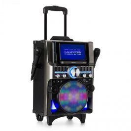 Auna DISGO Box 360, BT karaoke systém, 2 mikrofony, HDMI, BT, LED, USB, kolečka, černý