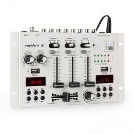 Resident DJ 22BT 2CH, 3-/2kanálový mixážní pult, 2x USB, 3x 6,3mm jack, bílý