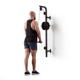 Klarfit Hangman, posilovací kladka, montáž na stěnu, 100 kg, 2,5 m kabel, tricepsová tyč, černá