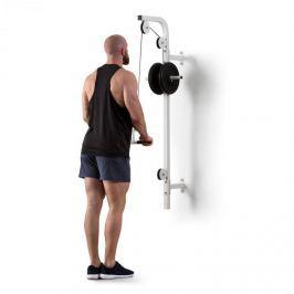 Klarfit Hangman, posilovací kladka, montáž na stěnu, 100 kg, 2,5 m kabel, tricepsová tyč, bílá
