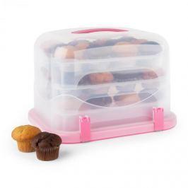 Klarstein Pinkkäppchen XL, růžový, box na koláč, držák na muffiny, 36 ks, 34,5 x 25 x 25,5 cm