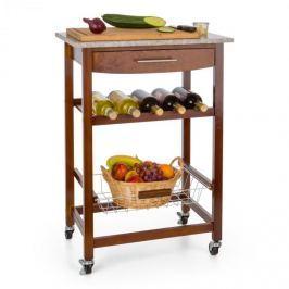 Klarstein Zimmerservice servírovací vozíček, kuchyňský vozík, polička na víno, granitová deska, hnědý
